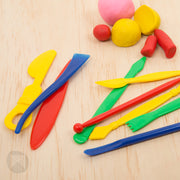set of 9 colourful tools in red, blue, yellow and green
