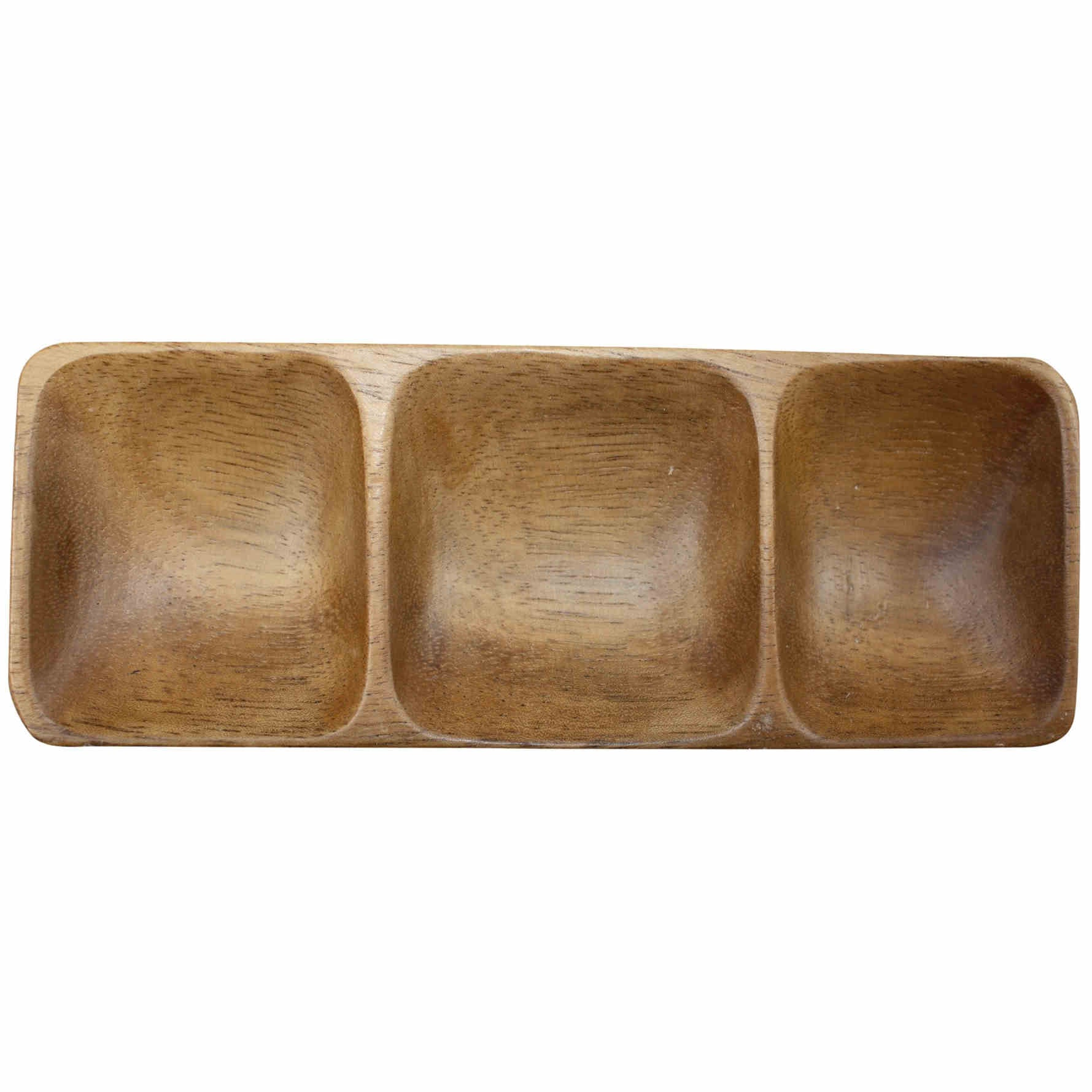 Acacia dish with 3 compartments