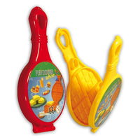 closed red and open yellow play dough waffle iron press