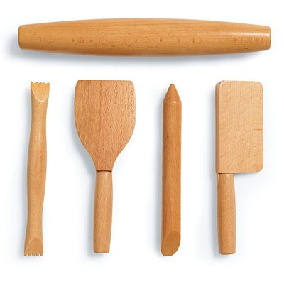 Set of 5 wooden sculpting tools