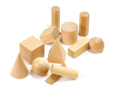 Set of 12 wooden 3D shapes