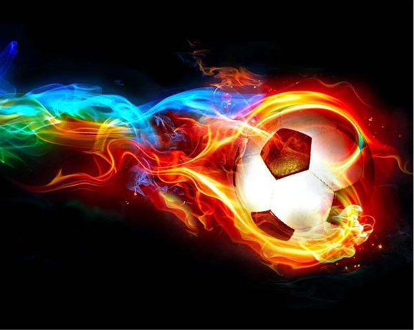 Tableau De Football En Feu - 5D Kit Broderie Diamants/Diamond Painting NA0625