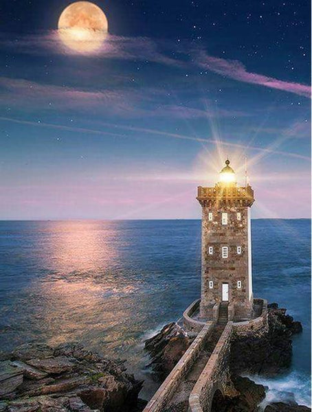 2019 Phare Au Bord De La Mer - 5D Kit Broderie Diamants/Diamond Painting VM9051