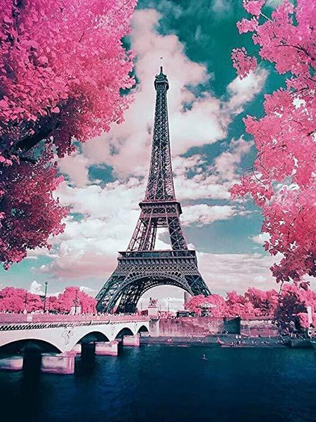 Grosses Soldes Paysage Photo De Tour Eiffel - 5D Kit Broderie Diamants/Diamond Painting VM1172