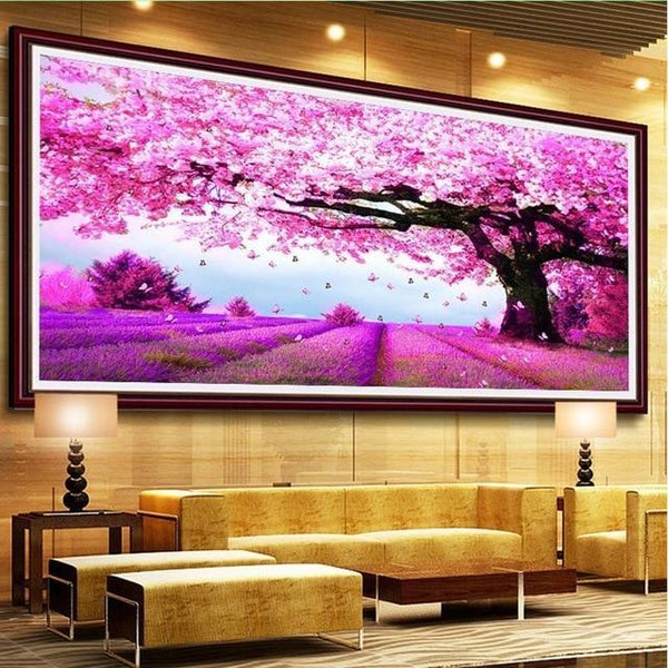 2019 Paysage Grande Taille Arbre - 5D Kit Broderie Diamants/Diamond Painting VM4125