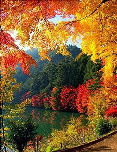 Paysage Série De Photo De Montagne Et Lac En Automne - 5D Kit Broderie Diamants/Diamond Painting VM95027