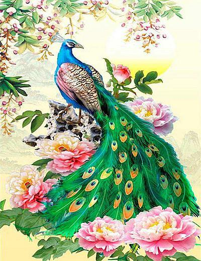 2019 Animal Paon Coloré Et Fleurs - 5D Kit Broderie Diamants/Diamond Painting VM8164