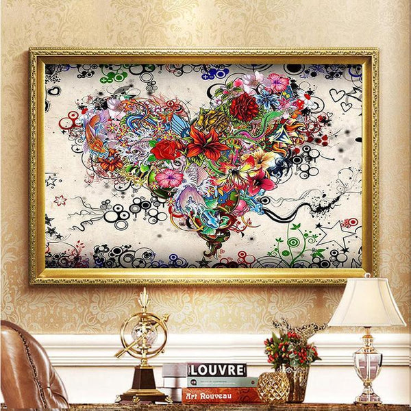 2019 Fleurs En Forme De Coeur - 5D Kit Broderie Diamants/Diamond Painting VM20044
