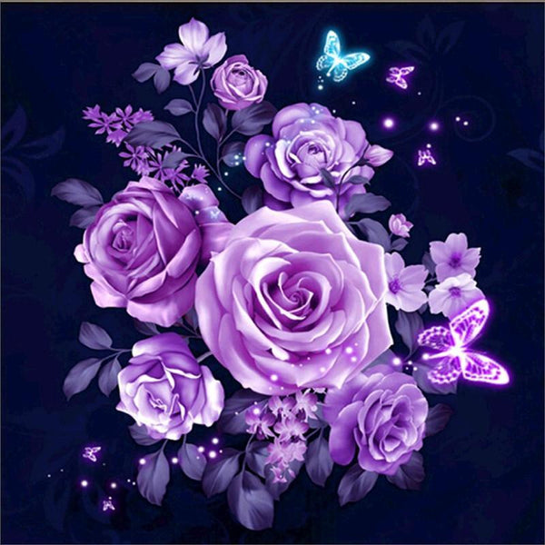 2019 Bon Marché Fleurs Violettes - 5D Kit Broderie Diamants/Diamond Painting VM1092
