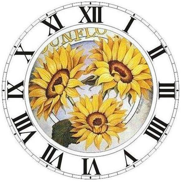 2019 Tournesols Dans L'Horloge - 5D Kit Broderie Diamants/Diamond Painting NB0159
