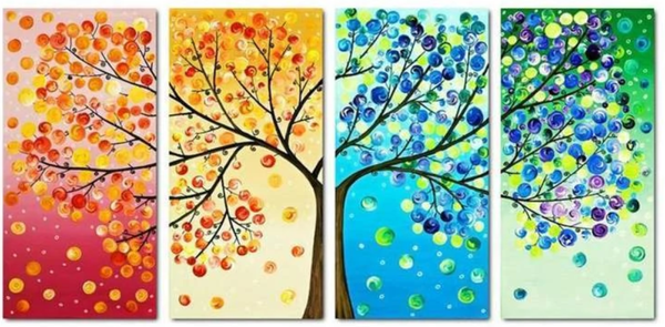 Arbre 4 Pièces Multi Echantillon Mosaïque - 5D Kit Broderie Diamants/Diamond Painting QB90194