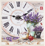 Tableau D'Horloge Et Lavandes - 5D Kit Broderie Diamants/Diamond Painting NA0815