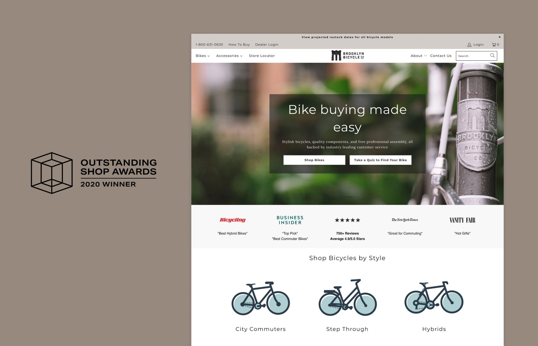 Brooklyn Bicycle Co.: Winner of the Outstanding Shop Award for best sports and recreation online store