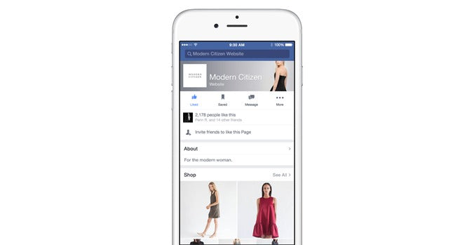"Facebook ""Shop"" section"