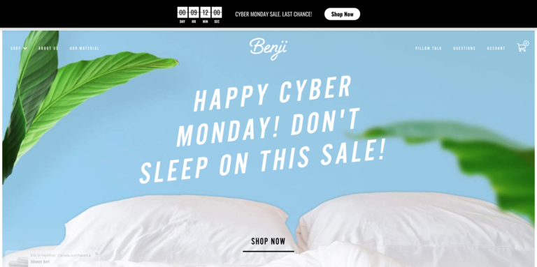 A screenshot of Benji Sleep using Countdown Sales Timer for their Cyber Monday sale