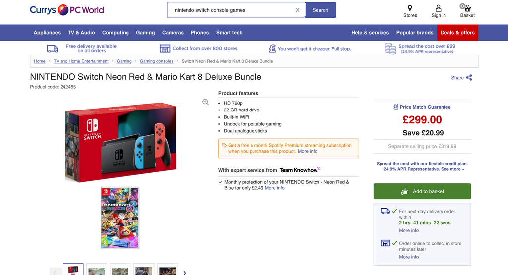 Screenshot of Nintendo Switch bundle sold at Currys
