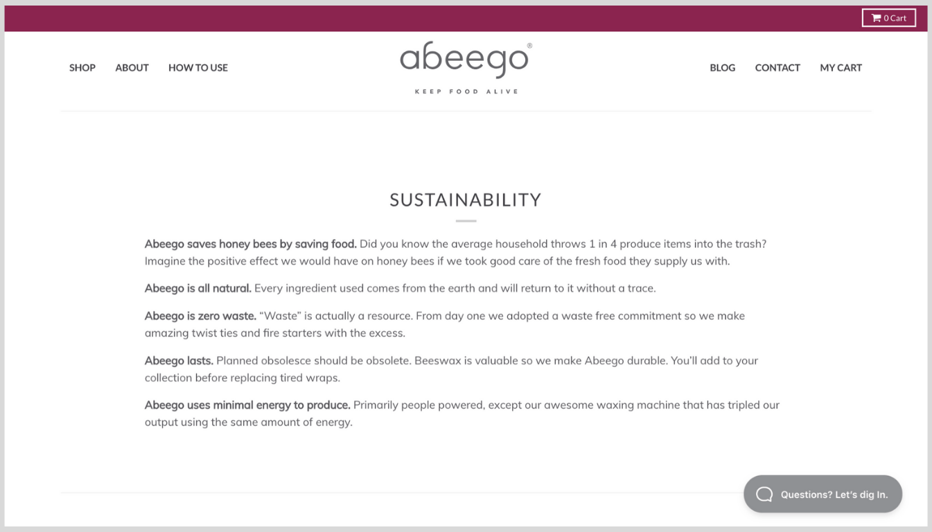 Screenshot showing Abeego's About page