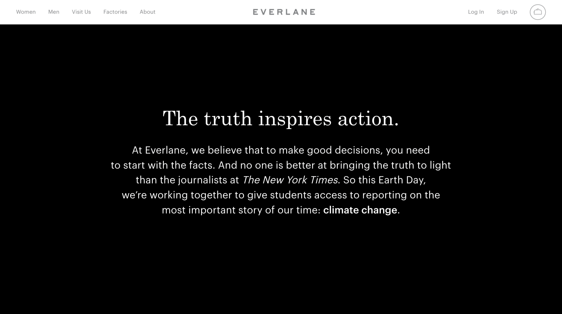 Screenshot of Everlane's commitment to Sustainability and partnership with the New York Times.