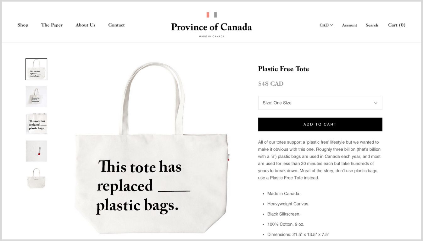 Screenshot of Province of Canada's tote bag product page