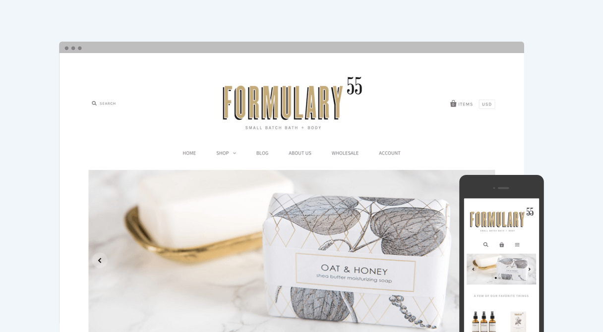Formulary55 homepage on desktop and mobile