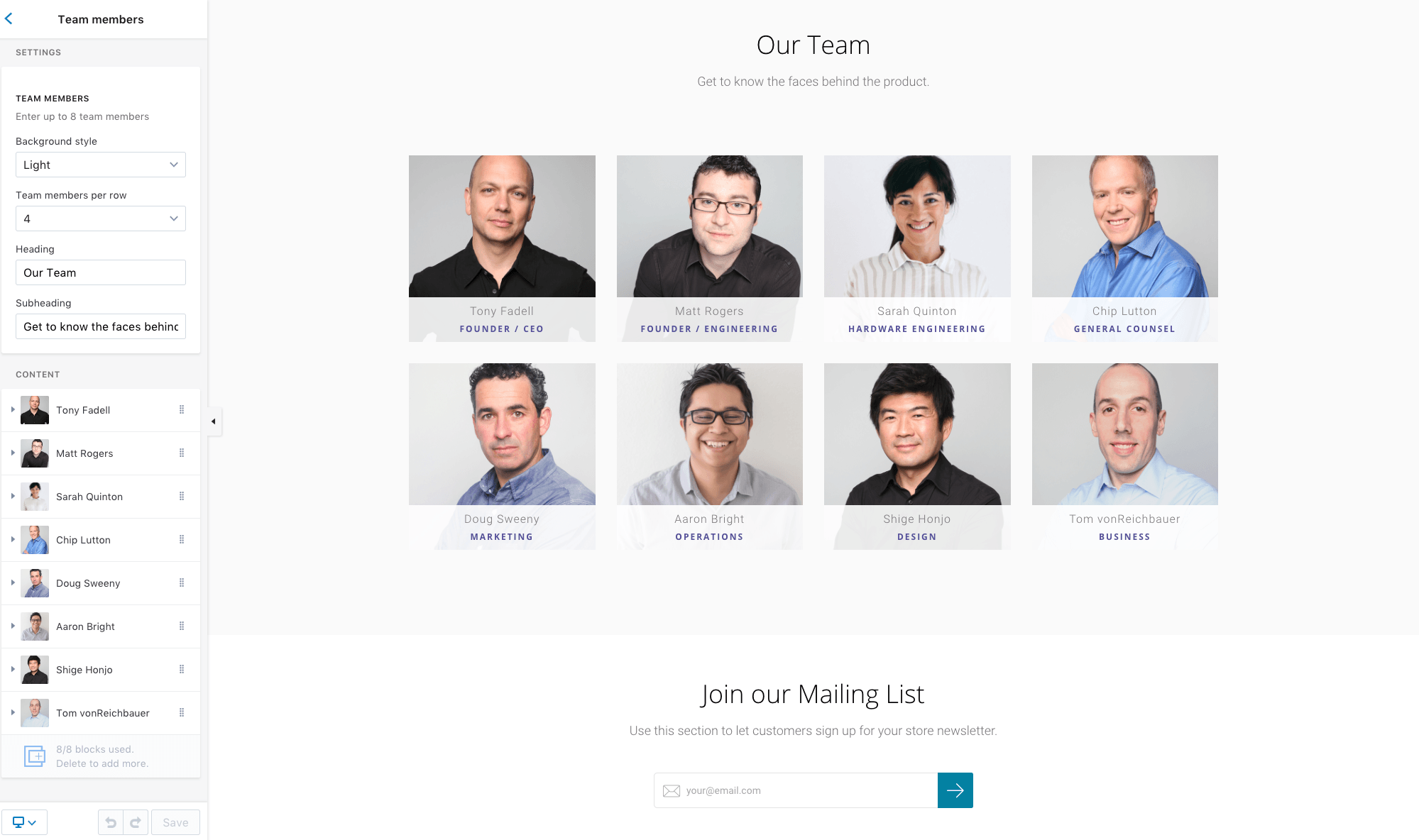 Launch Shopify theme team member section in theme editor