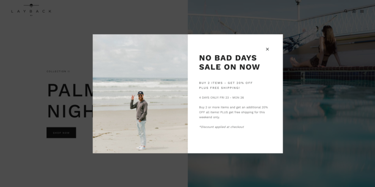 "Screenshot of Layback's ""No Bad Days Sale"" Pixelpop popup"