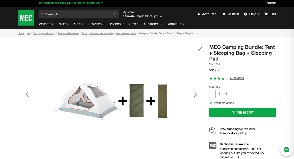 Screenshot of a MEC camping bundle including tent, sleeping bag, and mattress