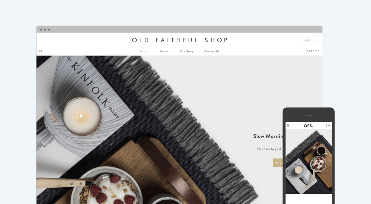 Old Faithful homepage on desktop and mobile
