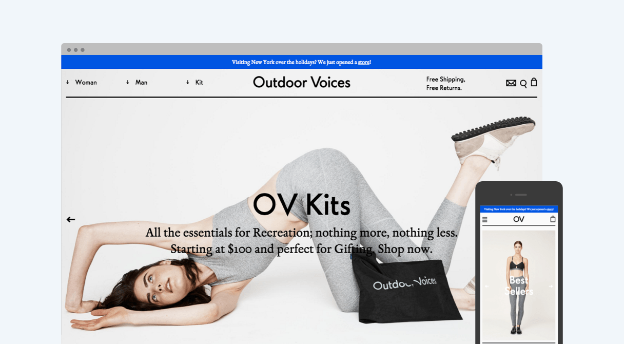 Outdoor Voices homepage on desktop and mobile
