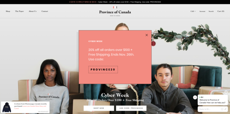 A screenshot of Province of Canada using Pixelpop and Bizzy Social Proof for their Cyber Week sale