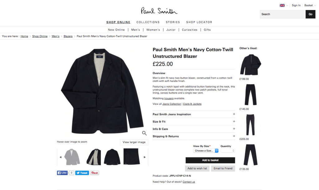 Paul Smith blazer product page