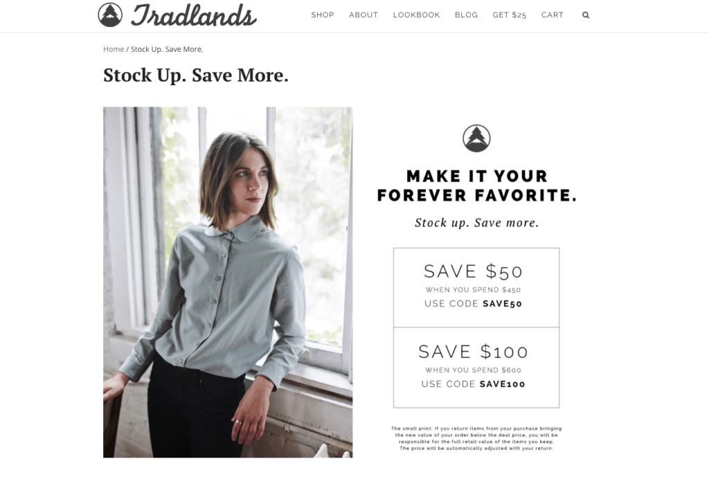 Tradlands coupon page