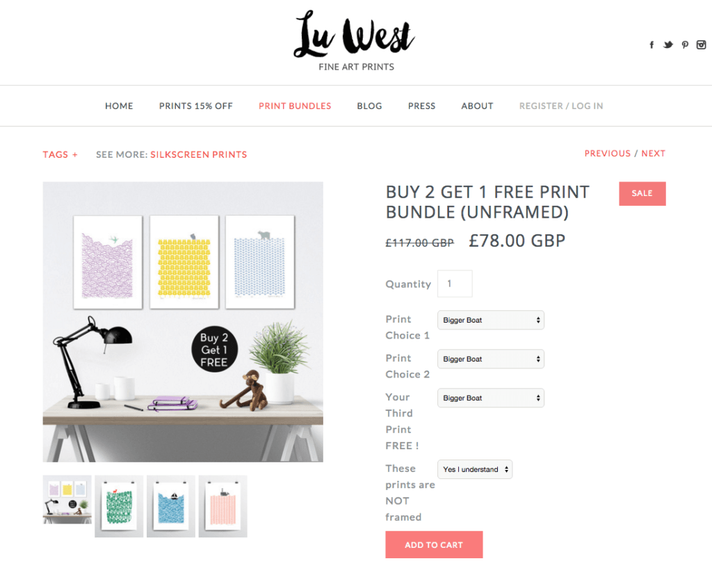 Lu West silkscreen print product page with buy 2 get 1 free promo