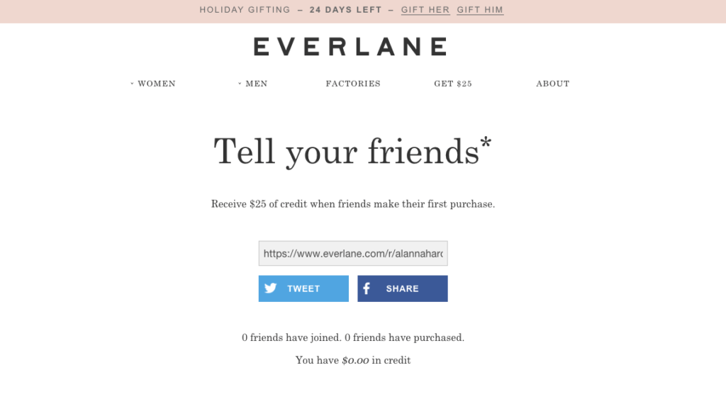 Everlane Facebook and Twitter referral and offer page