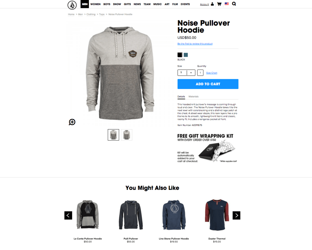 Volcom product page with suggested products at the bottom