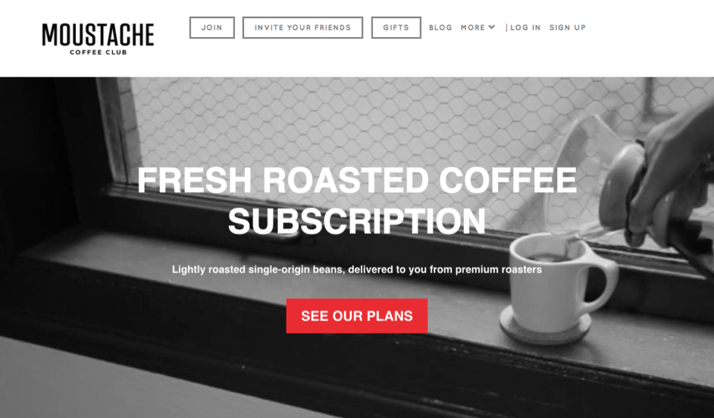 Moustache Coffee Club homepage