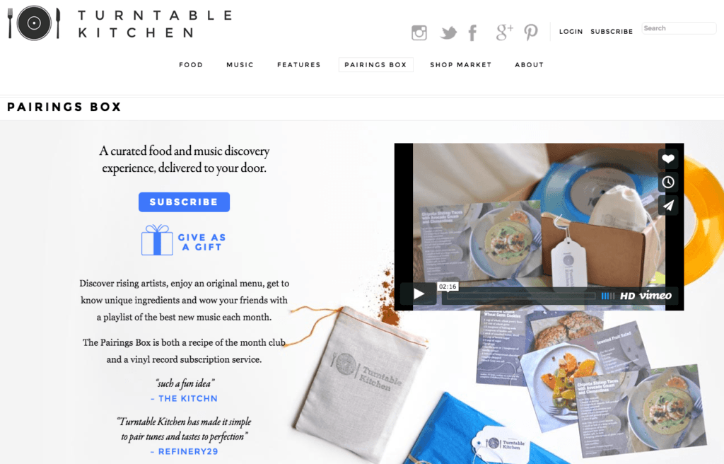 Turntable Kitchen website pairing box page