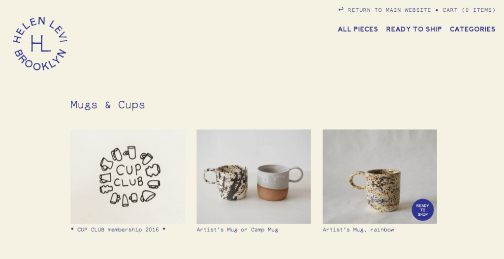 Helen Levi's Cup Club mug and cups collection page