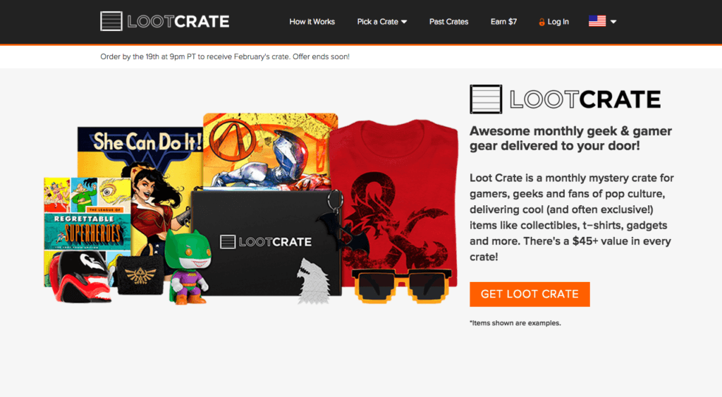 Lootcrate homepage