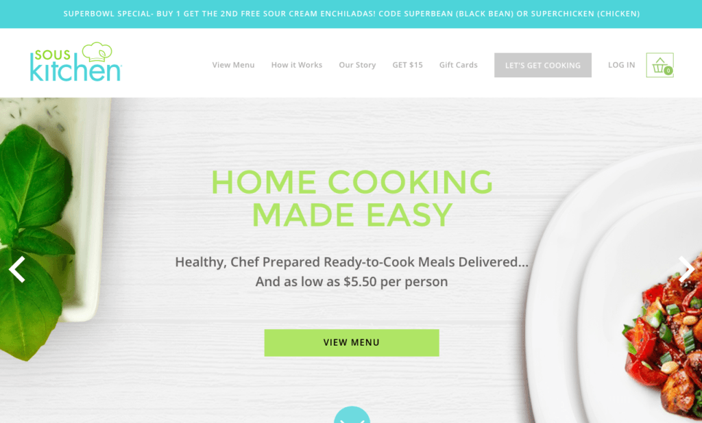 Sous Kitchen hompage