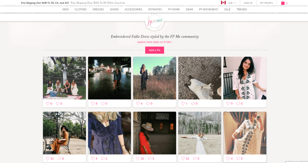 Free People Instagram feed