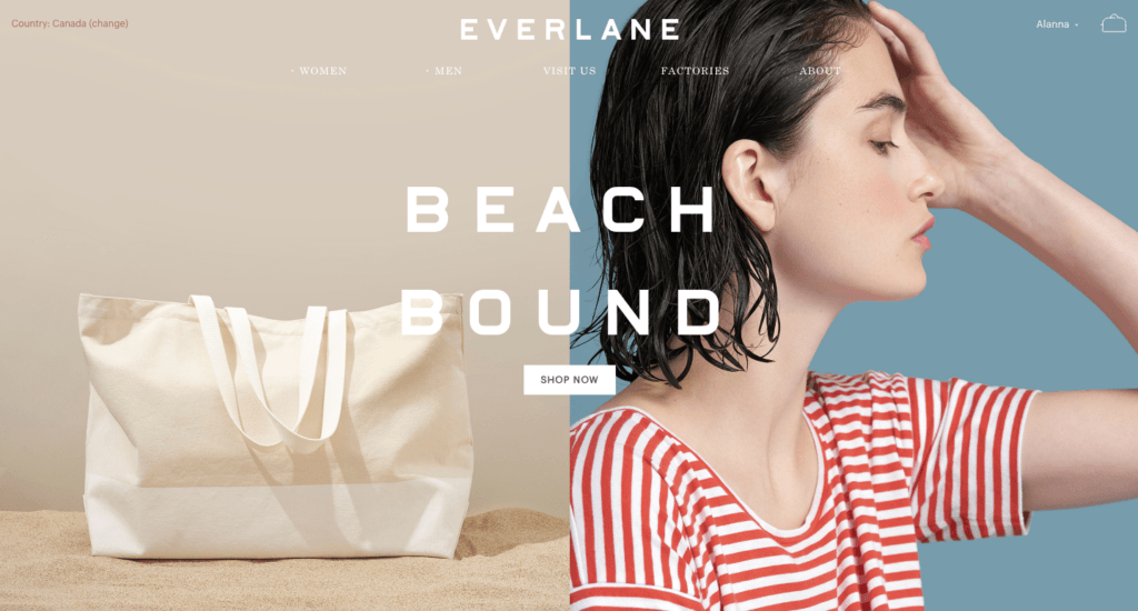 Everlane two-tone hero area featuring a bag and a woman in a striped tshirt