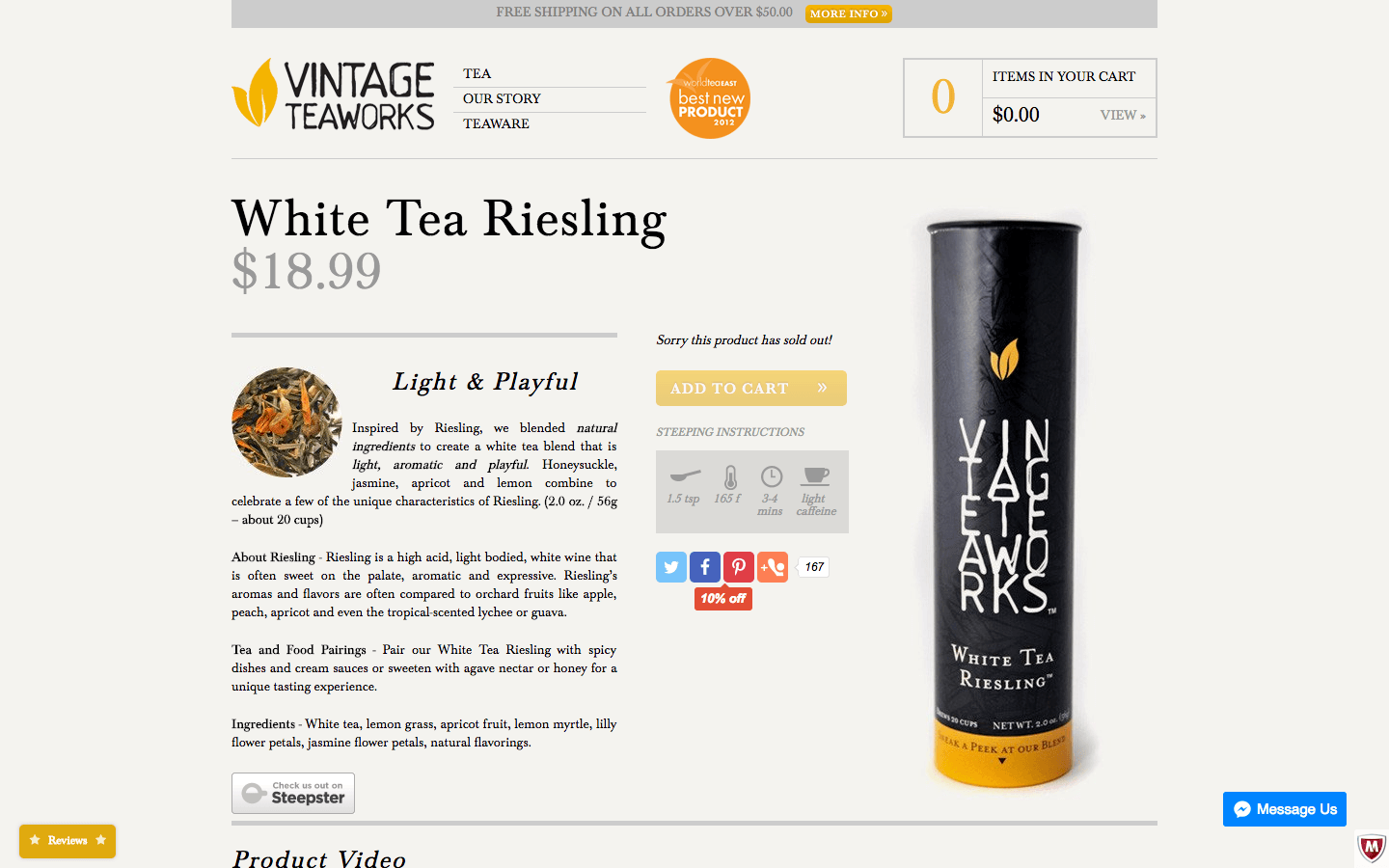 Vintage Teaworks social sharing on product page
