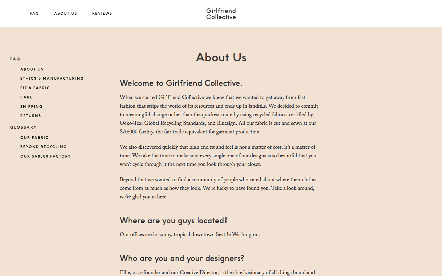 Girlfriend Collective about us page and frequently asked questions