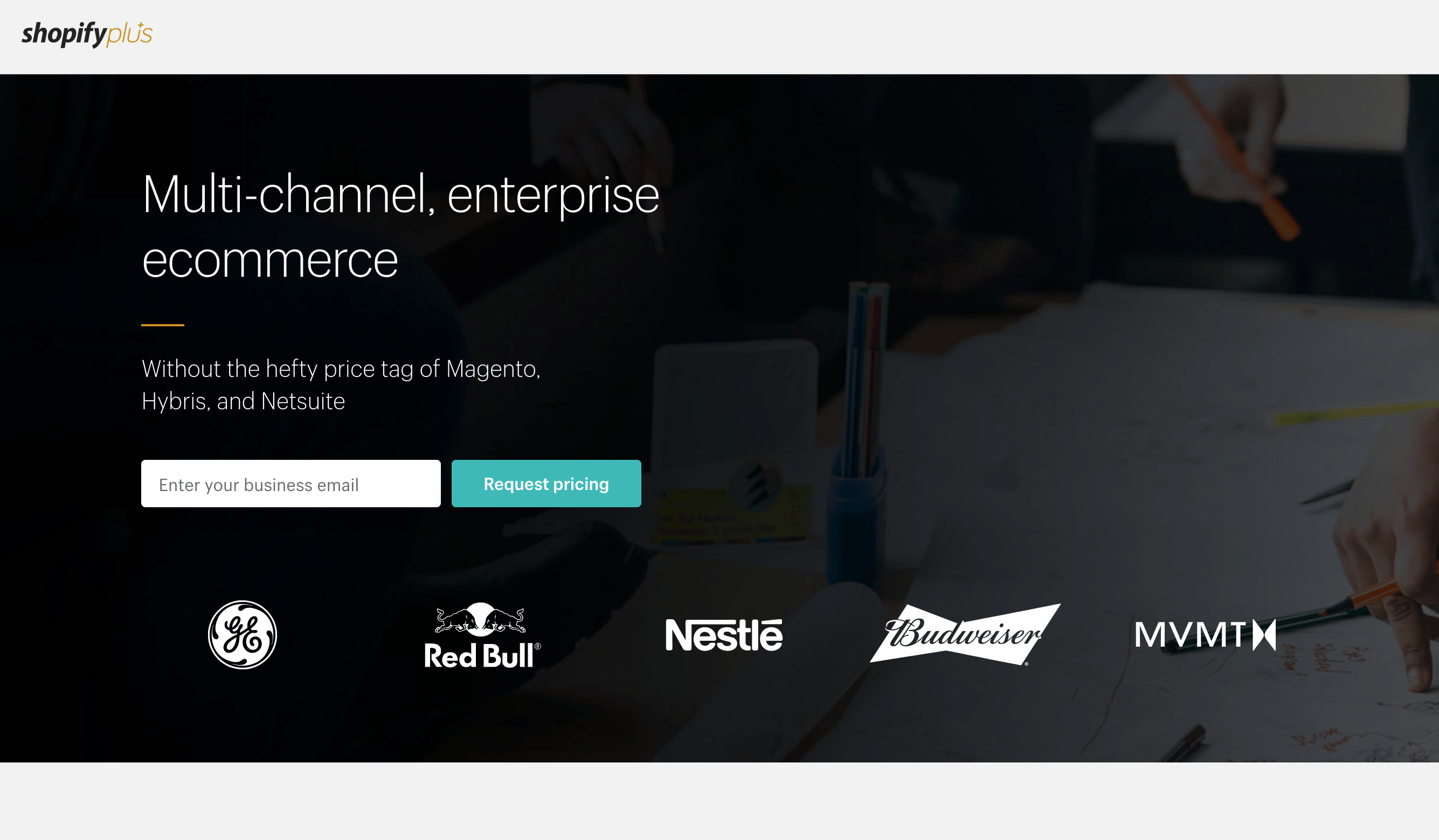 Screen shot showing 2019 version of the Shopify Plus home page