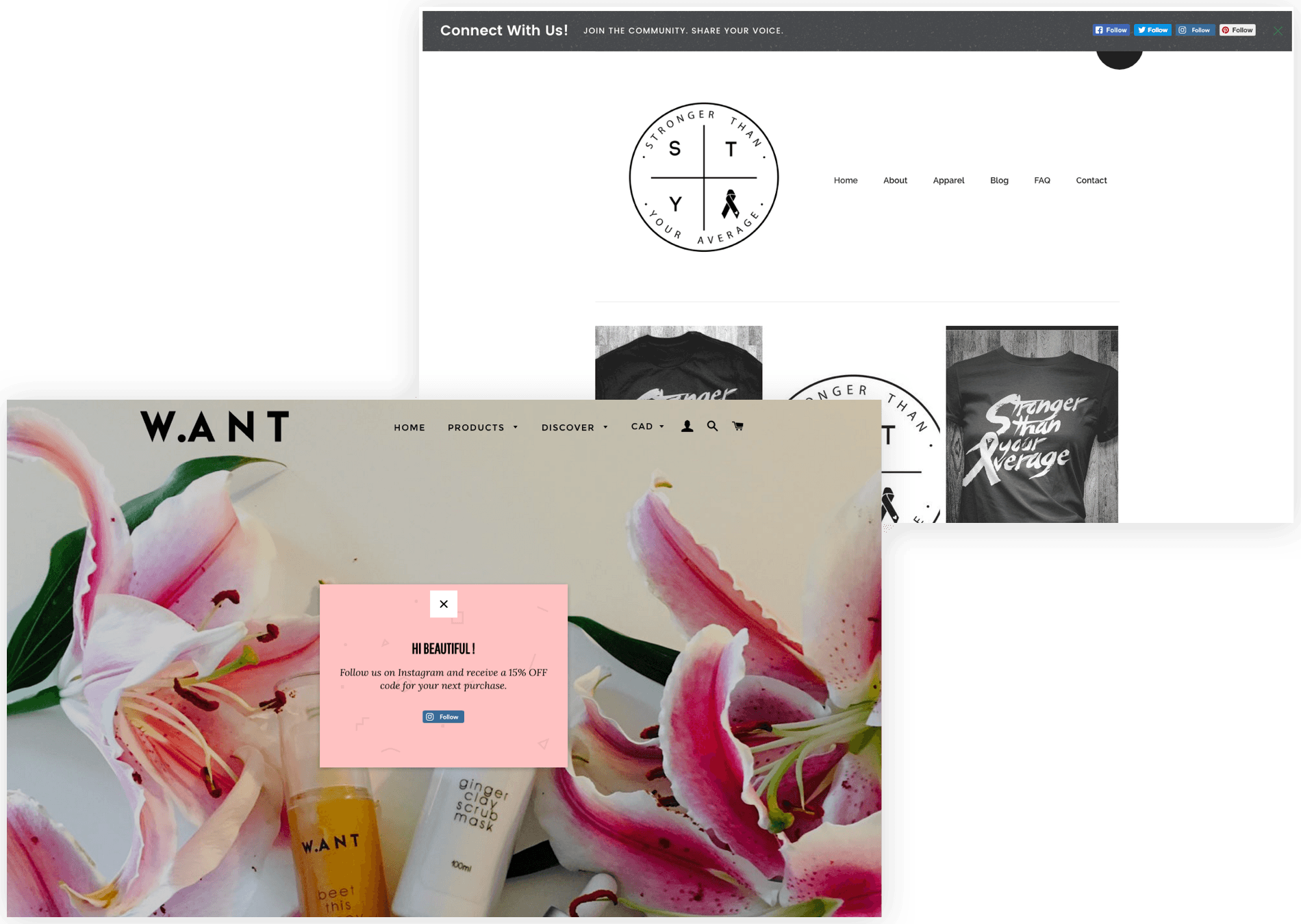 Increase social following popup on WANT skincare's website