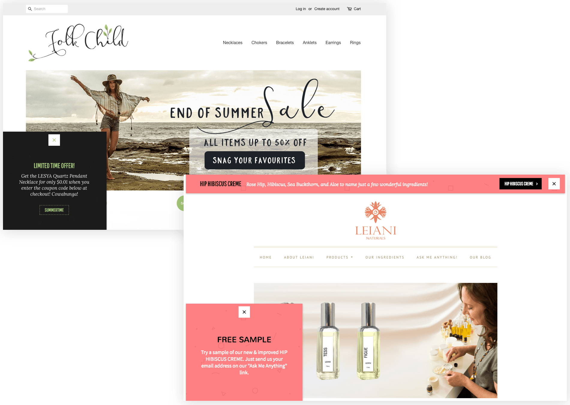 Free sample and limited time offer popups on Folk Child and Leiani websites