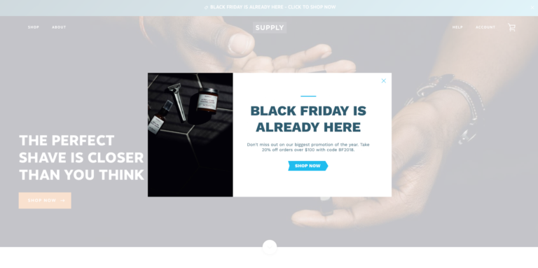 Screenshot of Supply's Black Friday Pixelpop popup