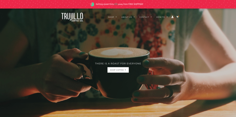A screenshot of Trujillo Coffee Co's holiday-themed Smart Shipping Bar