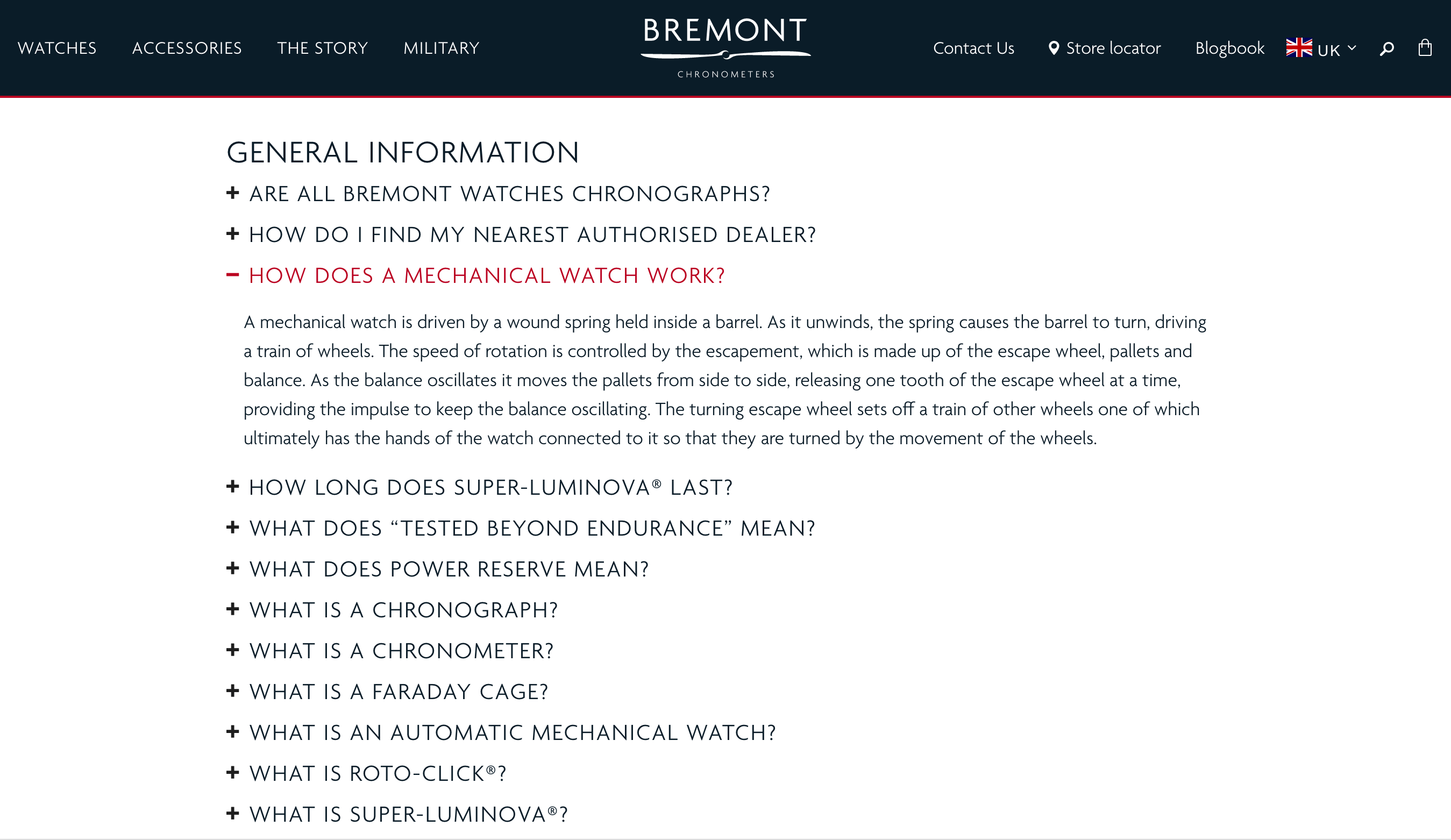 Screen shot of watchmakers Bremont's F A Q page showing quality questions and answers